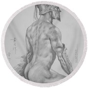 Original Charcoal Drawing Art Male Nude On Paper #16-3-11-26 Round Beach Towel