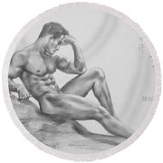 Original Charcoal Drawing Art Male Nude  On Paper #16-3-11-35 Round Beach Towel