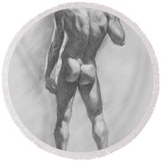 Original Charcoal Drawing Male Nude Mam On Paper #16-1-15-02 Round Beach Towel