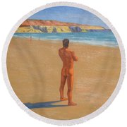 Original Classic Oil Painting Man Body Art Male Nude By The Sea-0017 Round Beach Towel