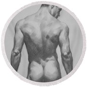 Original  Drawing Artwork Male Nude Men  On Paper #16-1-7 Round Beach Towel