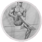 Original Drawing Charcoal Male Nude Boy Man On Paper #16-3-29-01 Round Beach Towel