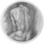 original Drawing male nude man #17325 Round Beach Towel