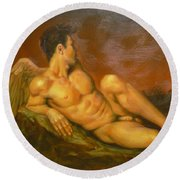 Original Oil Painting Art  Male Nude Of Angel Man On Canvas #11-16-01 Round Beach Towel by Hongtao Huang