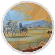 Original Oil Painting Art Male Nude With Horses On Canvas #16-2-5 Round Beach Towel