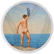 Original  Oil Painting Gay Art Male Nude By Body On Canvas#16-2-5-011 Round Beach Towel