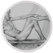 Original Pencil Drawing Male Nude Boy On Paper #16-9-29 Round Beach Towel by Hongtao Huang