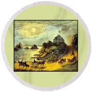 Original San Francisco Cliff House Circa 1865 Round Beach Towel