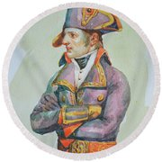 original watercolor painting artwork portrait of NapoLeon on paper#10-029-01 Round Beach Towel