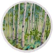 Original Watercolor - Summer Aspen Forest Round Beach Towel