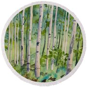 Original Watercolor - Summer Aspen Forest Round Beach Towel