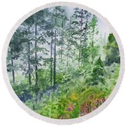 Original Watercolor - Summer Pine Forest Round Beach Towel