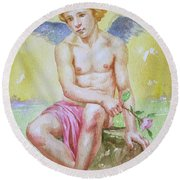 Original Watercolour Angel Of Nude Boy On Paper#16-11-2-01 Round Beach Towel by Hongtao Huang