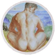 Original Watercolour Male Nude Men Outdoor On Paper#16-11-2 Round Beach Towel by Hongtao Huang