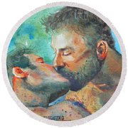 Original Watercolour Painting Art Portrait Of Two Men ' Kiss  On Paper #16-1-26-07 Round Beach Towel by Hongtao Huang