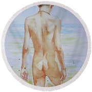 Original Watercolour Painting Boy Nude On Paper#16-9-19 Round Beach Towel by Hongtao Huang