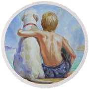 Original Watercolour Painting Nude Boy And Dog On Paper#16-11-18 Round Beach Towel by Hongtao Huang