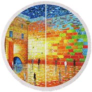 Round Beach Towel featuring the painting Original Western Wall Jerusalem Wailing Wall Acrylic 2 Panels by Georgeta Blanaru
