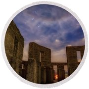 Round Beach Towel featuring the photograph Orion Over Stonehenge Memorial by Cat Connor