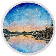 Orion Over Tahoe Winter Round Beach Towel