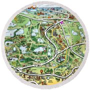 Orlando Florida Cartoon Map Round Beach Towel