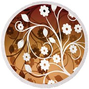 Round Beach Towel featuring the digital art Ornamental 2 Warm by Angelina Vick