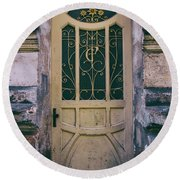 Ornamented Doors In Light Brown Color Round Beach Towel by Jaroslaw Blaminsky