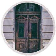 Ornamented Wooden Gate In Violet Tones Round Beach Towel by Jaroslaw Blaminsky