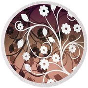 Round Beach Towel featuring the digital art Ornametal 2 Purple by Angelina Vick
