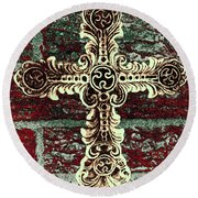 Ornate Cross 1 Round Beach Towel