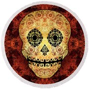 Ornate Floral Sugar Skull Round Beach Towel