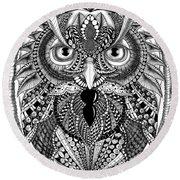 Ornate Owl Round Beach Towel