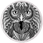 Ornate Owl Round Beach Towel