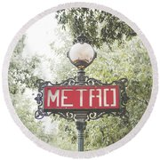 Ornate Paris Metro Sign Round Beach Towel by Ivy Ho