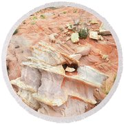 Round Beach Towel featuring the photograph Ornate Rock In Wash 4 Of Valley Of Fire by Ray Mathis
