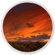Round Beach Towel featuring the photograph Oro Valley Sunset H6 by Mark Myhaver