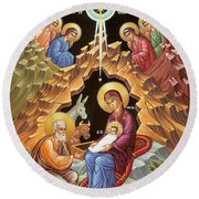 Orthodox Nativity Scene Round Beach Towel by Munir Alawi