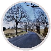 Round Beach Towel featuring the photograph Osage County Road by Cricket Hackmann