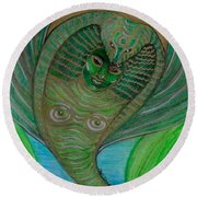 Round Beach Towel featuring the drawing Wadjet Osain by Gabrielle Wilson-Sealy