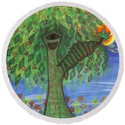 Round Beach Towel featuring the drawing Osain Tree by Gabrielle Wilson-Sealy
