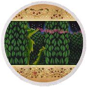 Round Beach Towel featuring the digital art Oscar Climbed The Hedges by Donna Huntriss