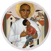 St. Oscar Romero Of El Salvado - Rlosr Round Beach Towel