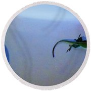 Round Beach Towel featuring the photograph Oscar The Lizard by Denise Fulmer