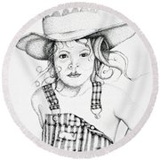 Round Beach Towel featuring the drawing Osh Kosh by Mayhem Mediums
