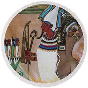 Osiris With Goddess Isis And 4 Grandkids Round Beach Towel