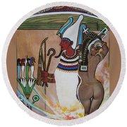 Blaa Kattproduksjoner         Osiris With Goddess Isis And 4 Grandkids Round Beach Towel