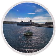 Oslo Fjord From The Roof Of The National Opera House Round Beach Towel