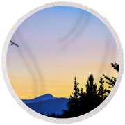 Osprey Against The Sunset Round Beach Towel