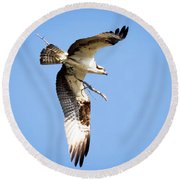 Round Beach Towel featuring the photograph Osprey In Flight by Ricky L Jones