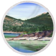 Round Beach Towel featuring the painting Osprey Island Flaming Gorge by Jane Autry